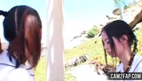 Asian Girl Gets Sucked By Her Guy