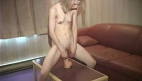 Petite Blonde Petite Cums Onto Her Ball
