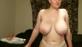 Blonde MILF With Big Boobies Fucked From Behind On The Big Bed