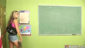 Busty Blonde Teacher Masturbates Her Student