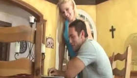 Slutty Blonde, In A Short Dress Seduced Her Boss's Son And Took Him Home To Fuck Him