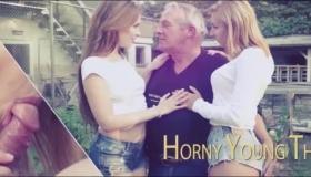 Two Horny Cfnm Babes Sucking Boyfriend