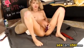 Naked Blonde Girl Is Getting Her Hairy Slit Filled With An Erect Dick And Giving Deep Blowjobs