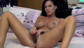 Gorgeous, Artistic Brunette In A Floral Uniform, Mary Lee Is Taking Off Her Clothes And Masturbating