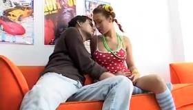 Serena Is Talking To Her Boyfriend, While Her Best Friend Is Touching Her Soft Skin Miliastriigl