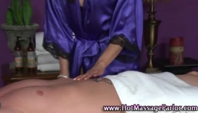 Racy Brunette Masseuse Does Her Client Before Milking His Cock
