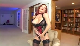 Busty Milf In Fishnet Outfit Is Rubbing Her Hairy Pussy, Because She Needs A Good Fuck