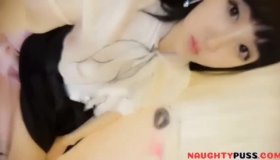 Horny Asian Allowing Two Cocks Inside Her Pussy