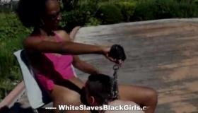 Ebony Girl, Maya Queen Took Off Her Pink Bikini And Started Sucking Her Neighbor's Cock