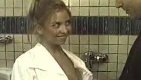 Blonde Bathroom Slut Side Out, Posing