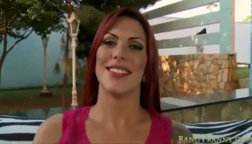Busty, Red Haired Woman Was Rubbing Her Lover's Dick, Because He Was In Jail, For Sex