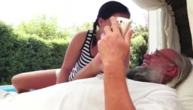 Horny Grandpa Is Having Wild Sex With A Much Younger Slut, During A Vacation