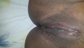 Horny Black Lady Shows Her Nice Petite Hairy Shaved Pussy Outdoors