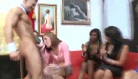 CFNM Babes Sucking The Stripper Balls