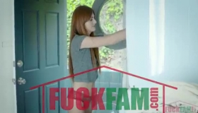 Red Haired Woman, Angela Dream Is Sucking And Riding Hard Meat Stick, While Kneeling On The Floor