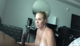 Mature, Slender Woman, Danni Rivers Is Getting Loads Of Cum All Over Her Face After Sucking Cock