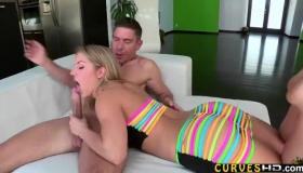 Blonde Teen With Large, Bubble- Butt Likes To Fuck Various Guys At The Same Time