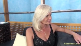 Blonde Cougar With Big Tits, Kerry Cherry Spread Her Legs Wide For A Guy She Likes