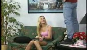 Drinking Blonde Pussy Licking Eats Cum