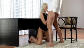 Katy Rose Sexy Lesbian Blonde Sucks A Big Black Cock During Interracial Threesome