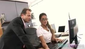 Horny Office Brunette Aaliyah Hadid Fucked