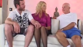Blonde Housewife Fucking An Old Fella