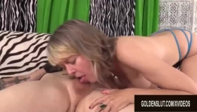 Sexy Blonde Granny Spreads Her Hairy Pussy
