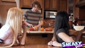 Kenzie Reeves Is Sucking Her Sister's Dick Like A Real Pro And Enjoying It A Lot