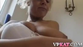 Dirty Minded Granny In Animal Printed Dress Is About To Get Some Nice Money For Her Job