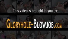 Blonde Gloryhole Slut Stroking Her Cock