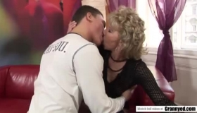 Mature Woman And Her Son's Friend Are Secretly Having Sex, On The Sofa, All Day Long