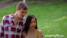 Petite European Brunette Is Gagging In The Nature, Because It Is Her Jobs She Likes