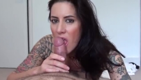Tattooed Chick With Dark Hair And Her Boss Are About To Have A Steamy Threesome