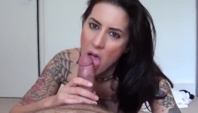 Tattooed Cock Teaser Is Having Steamy Sex With Her Married Neighbor And His Wife, In His Bedroom