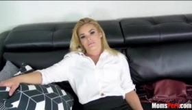 Hot Mom Is Wearing Only Black Stockings While Getting Fucked In A Doggy Style Position
