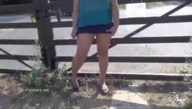 Sweet Latina Exposing At Backyard