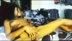 Horny Ebony Masturbating In The Shower