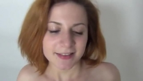 Busty Redhead Peening Up On Her Bed