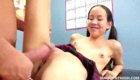 Slim Asian Schoolgirl Sucks And Rides The Fuck Bike