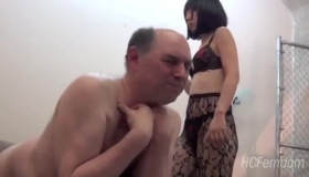 Asian Mistress In Black Fucking Suit Makes Her Mate Cum So Hard, In His Pants
