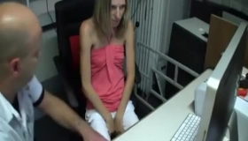 Skinny Blonde Teen Flashes For The Camera While Getting Both Pussy And Mouth Stuffed