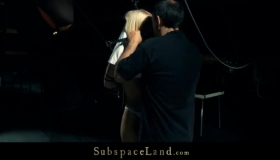 Gagged Blonde Slave With A Big Butt Is Tied Up And Forced To Suck Huge Penis