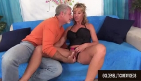 Mature Blonde Woman In Black Stockings Is Madly Sucking Her Lover's Dick And Expecting A Good Fuck