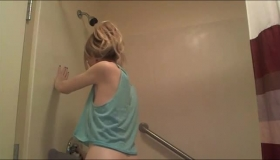 Horny Blonde Coed Stripping Off