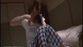 Two Sensual Japanese Teens Enjoying Rough Sex On The Bed