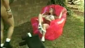 Red Lab Girl Shows Her Gaping Wet Cunt Outdoors