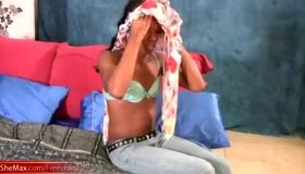 Horny Ebony Femboy Stroking