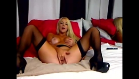 Blonde Squirting Before Redhead Dildo