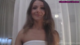 Horny, Brown Haired Woman With Small Tits And Perky Nipples Is Sucking Dicks For Money
