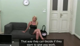 Seductive Blonde Agent Seduces A Sexy Secretary And Gives Her Your Money, Anyway